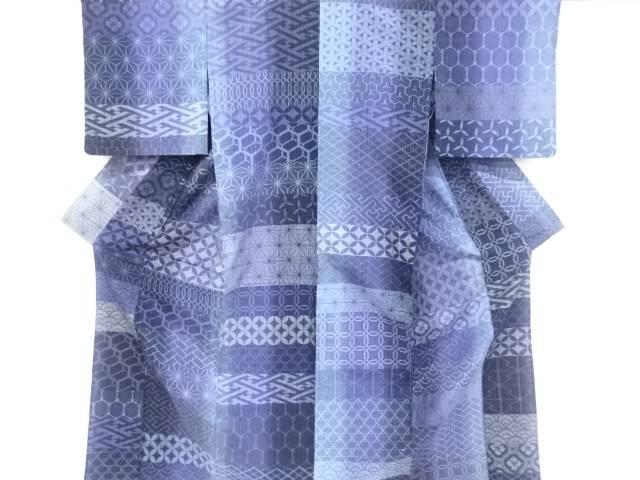 【合計1万円以上の購入で送料無料】  横段に古典柄織り出し手織り真綿紬単衣着物【リサイクル】【中古】