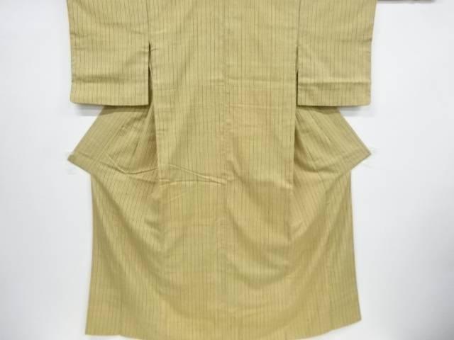 【合計1万円以上の購入で送料無料】  浦野理一作 縞織り出し手織り真綿紬着物【リサイクル】【中古】