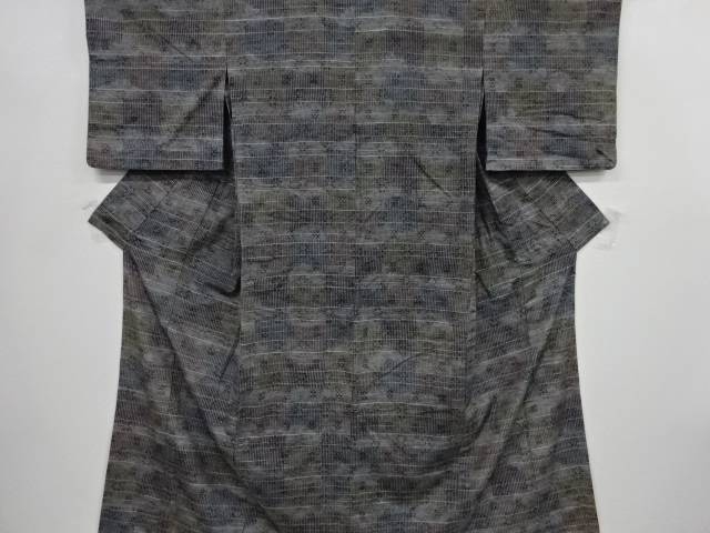 変わり織り絣柄織り出し手織り節紬単衣着物【リサイクル】【中古】