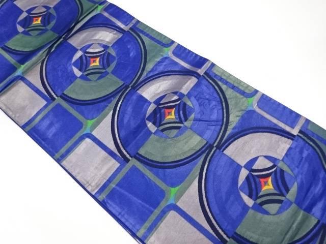 幾何学模様織出し袋帯【リサイクル】【中古】