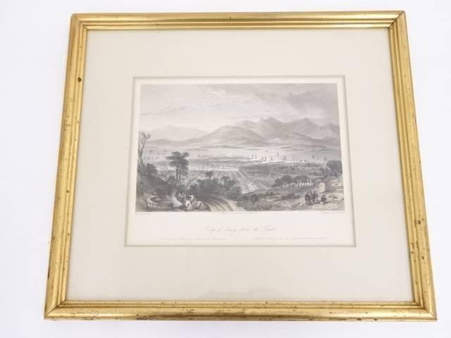 絵画 トーマス・アロム 「アモイの街の風景」 銅版画 額装