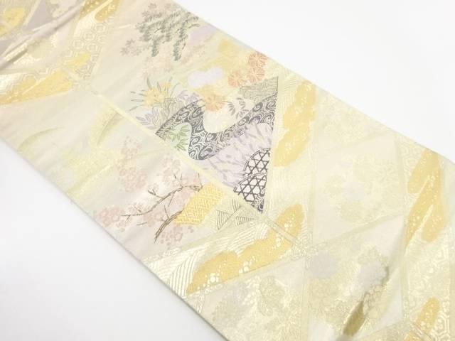 格天井に流水・草花模様織出し袋帯【リサイクル】【中古】