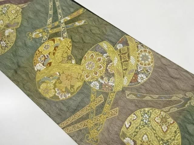 琴柱に手毬文織出し袋帯【リサイクル】【中古】