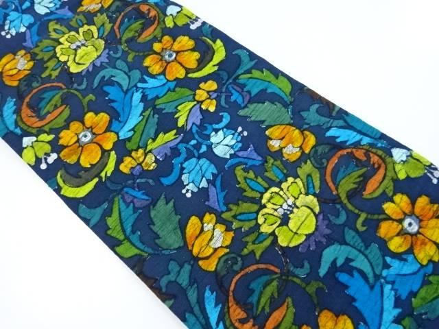 手織り真綿紬ろうけつ染花模様名古屋帯【リサイクル】【中古】