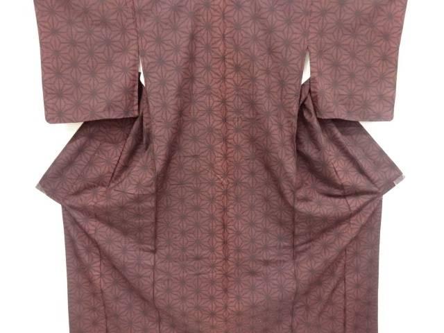 麻の葉織り出し手織り紬着物【リサイクル】【中古】