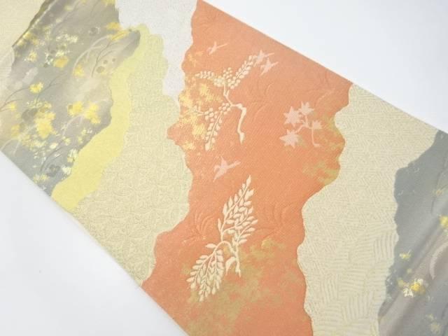 道長取りに花鳥模様織り出し袋帯【リサイクル】【中古】