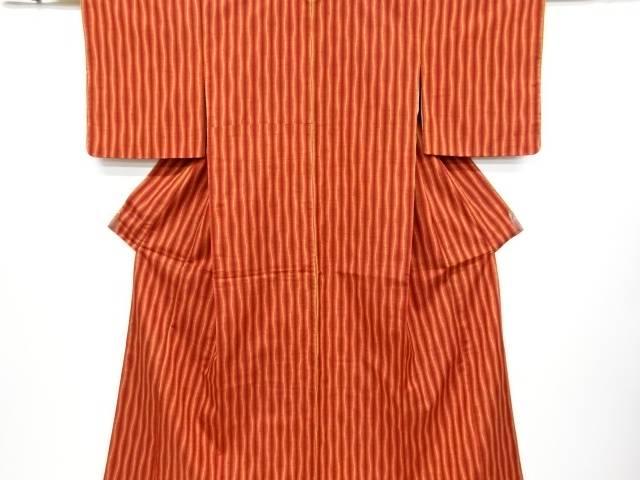 未使用品 よろけ縞模様手織り節紬着物【リサイクル】【中古】