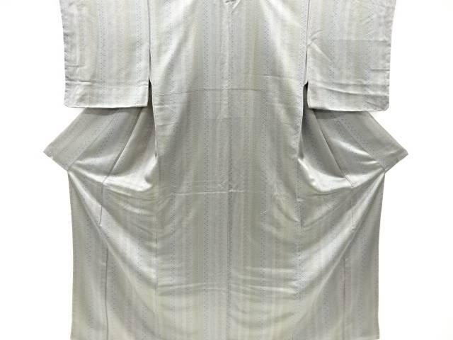未使用品 仕立て上がり 縞に松竹梅模様小紋着物