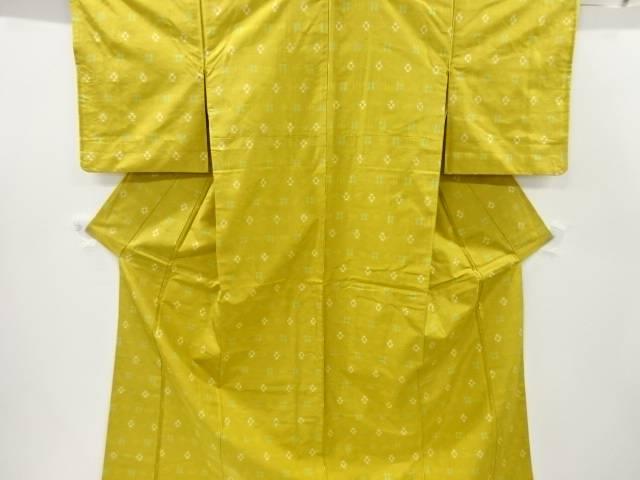 絣柄織り出し手織り節紬着物【リサイクル】【中古】