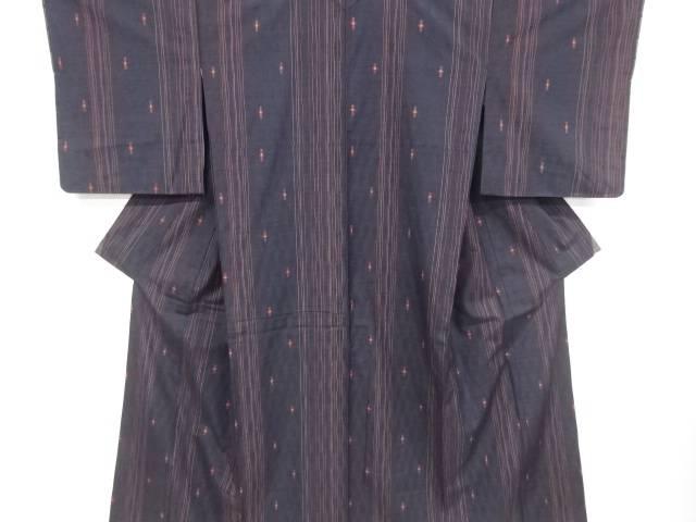 未使用品 仕立て上がり よろけ縞に十字絣模様織り出し手織り真綿紬着物