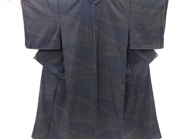 線描き模様織り出し本塩沢単衣着物【リサイクル】【中古】