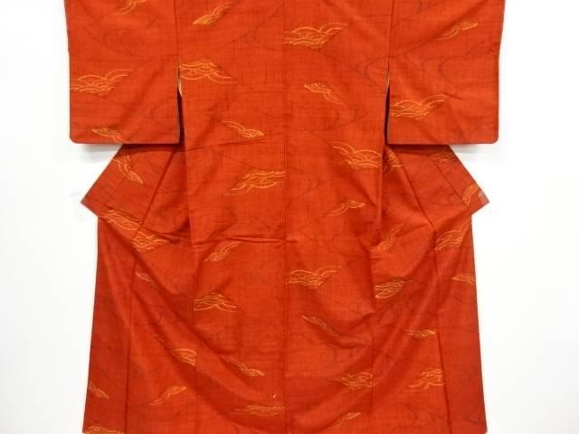 線描きに青海波模様織り出し手織り節紬着物【リサイクル】【中古】