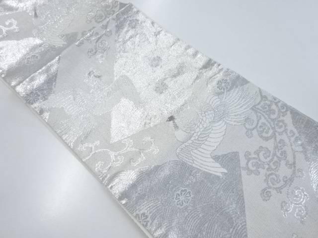 鳳凰に花・波模様織り出し袋帯【リサイクル】【中古】