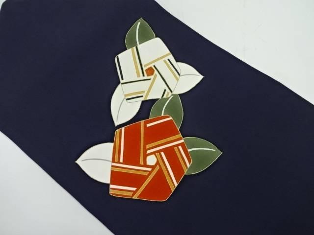 塩瀬抽象椿模様刺繍名古屋帯【リサイクル】【中古】