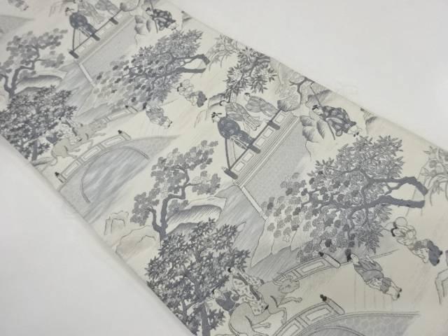 未使用品 唐人物風景模様織出し袋帯【リサイクル】【中古】