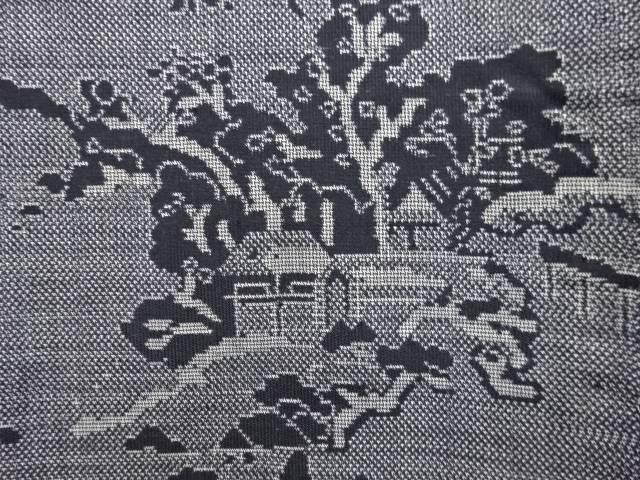屋敷に樹木模様織り出し本場泥大島紬着物(9マルキ)【アンティーク】【中古】