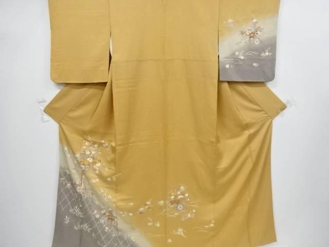 金彩蛇籠に花車模様刺繍一つ紋訪問着【リサイクル】【中古】