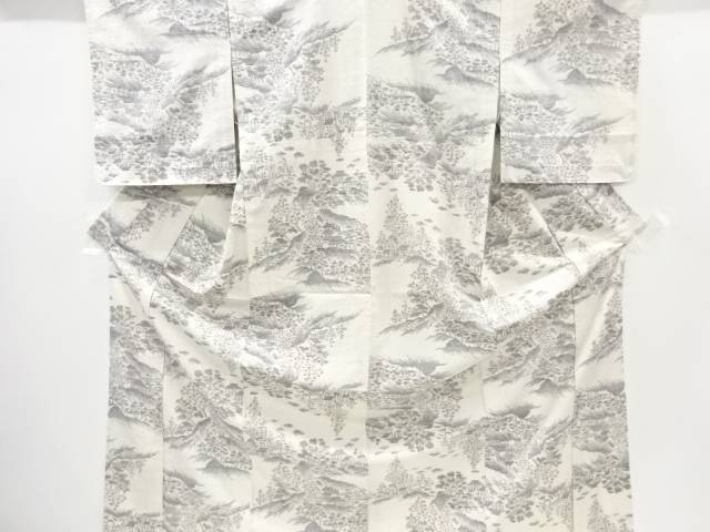 樹木に寺塔模様織り出し手織り紬単衣着物【リサイクル】【中古】