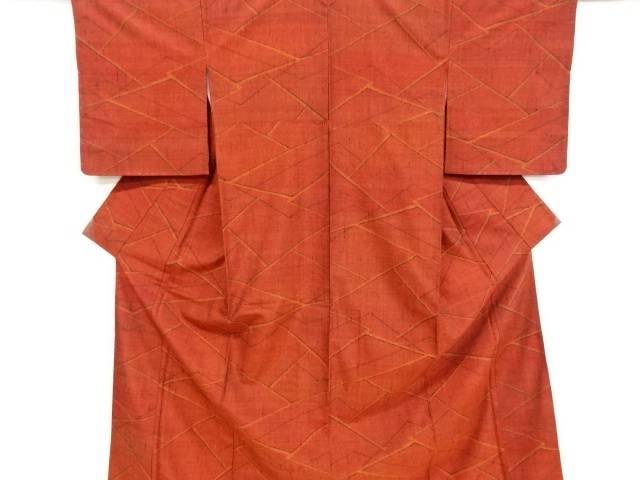 未使用品 線描き模様織出手織り真綿紬着物【リサイクル】【中古】