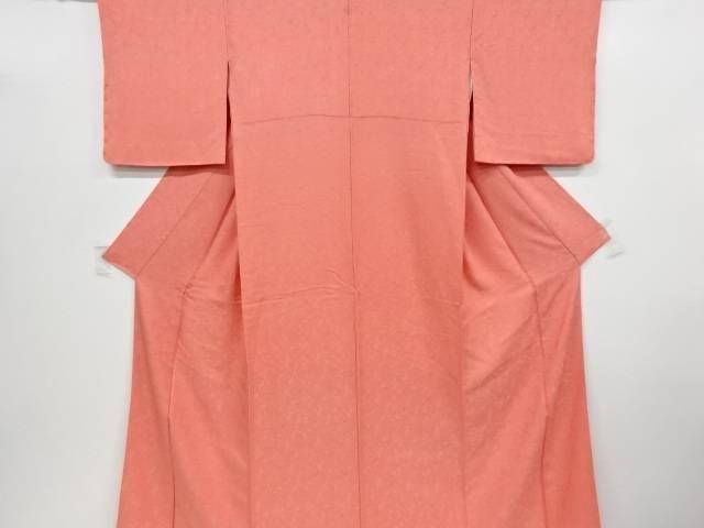 菖蒲模様織り出し一つ紋色無地着物【リサイクル】【中古】