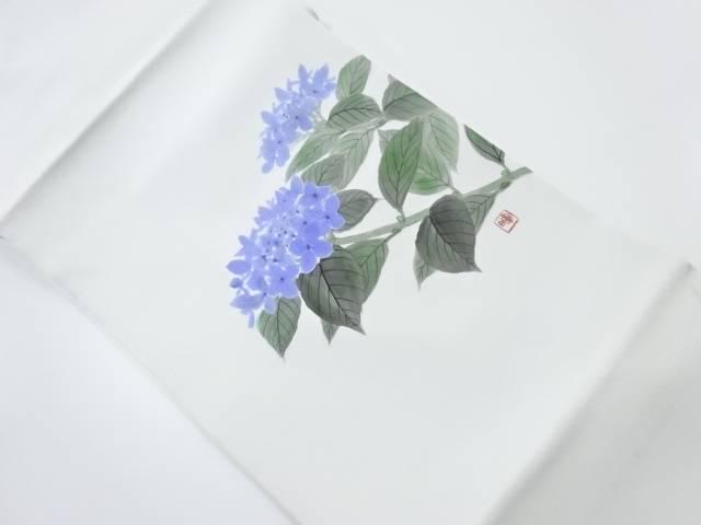 作家物 塩瀬手描き紫陽花模様名古屋帯【リサイクル】【中古】