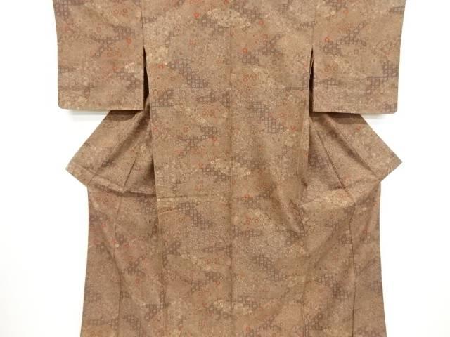 未使用品 地紙に花丸文様上代紬単衣着物【リサイクル】【中古】