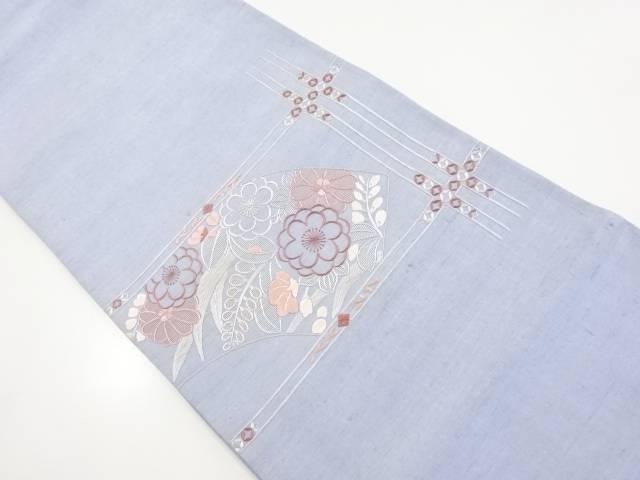 手織り真綿紬地紙に草花模様刺繍袋帯【リサイクル】【中古】