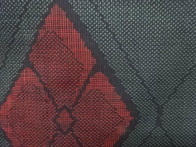花菱模様織り出し本場泥大島紬着物(5マルキ)【アンティーク】【中古】