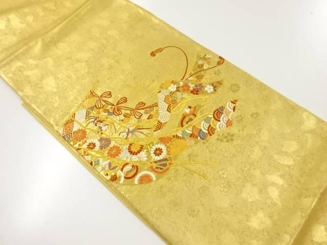 本金箔几帳に尾長鳥・花・古典柄織り出し袋帯【リサイクル】【中古】
