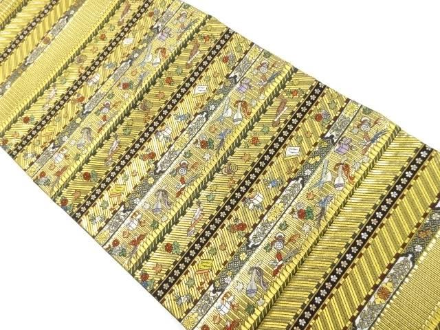 本金横段に花鳥・和楽器模様織り出し袋帯【リサイクル】【中古】