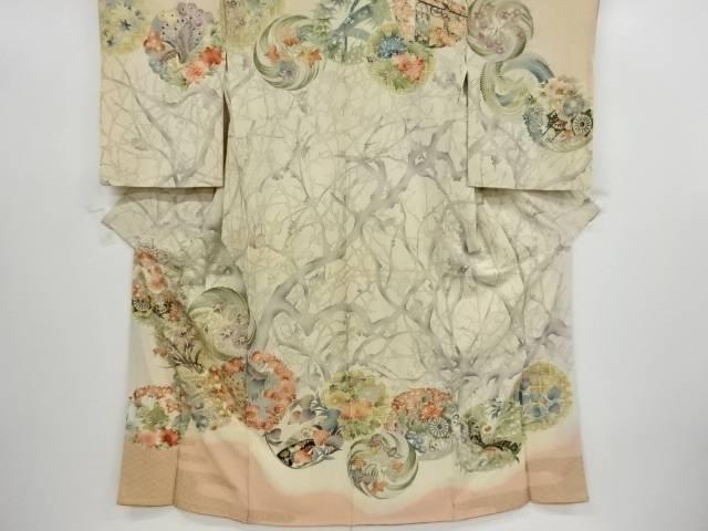 花鳥丸紋に桧扇花車模様刺繍着物【大正ロマン】【中古】