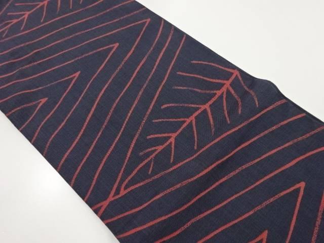 線描きに抽象葉模様織り出し本袋帯【リサイクル】【中古】