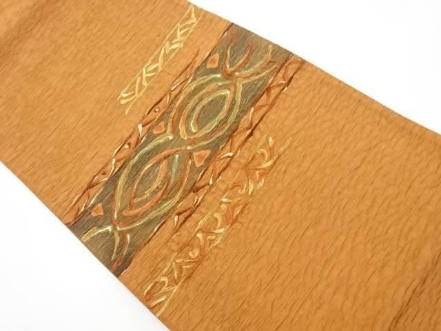 ふくれ織横段に更紗模様刺繍袋帯【リサイクル】【中古】