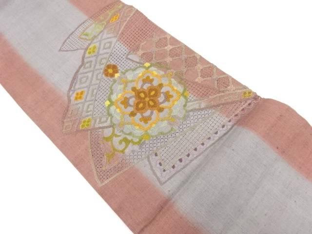 手織り紬相良刺繍檜扇に宝相華・唐草模様袋帯【リサイクル】【中古】