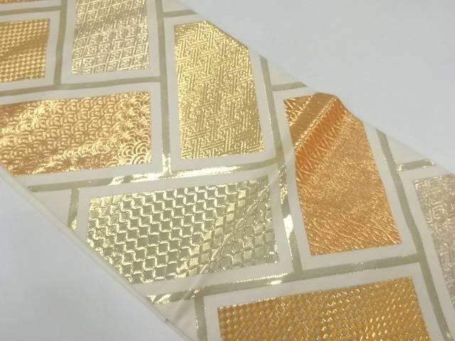 純金箔古典柄模様織出し袋帯【リサイクル】【中古】