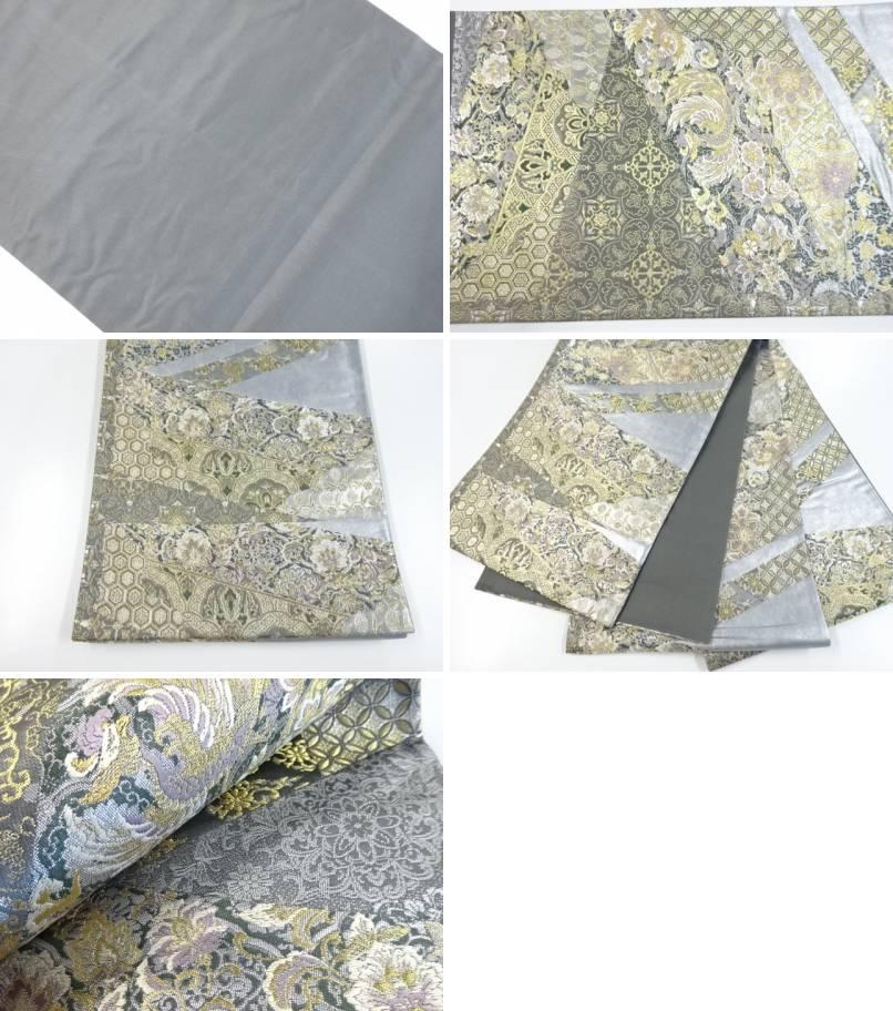 金銀糸花鳥更紗模様織出袋帯 リサイクルf67gbyY