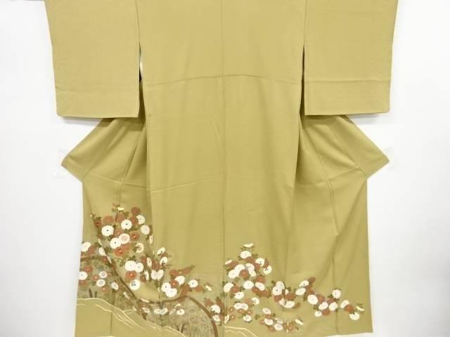 箔置螺鈿菊模様刺繍色留袖【リサイクル】【中古】