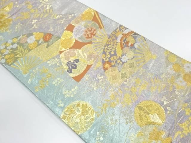扇面に花鳥・四季花模様織出し袋帯【リサイクル】【中古】