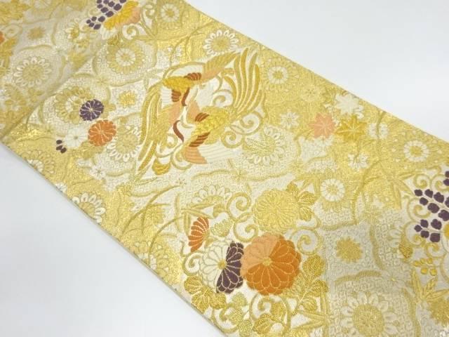 花鳥に菊・桐模様織出し袋帯【リサイクル】【中古】