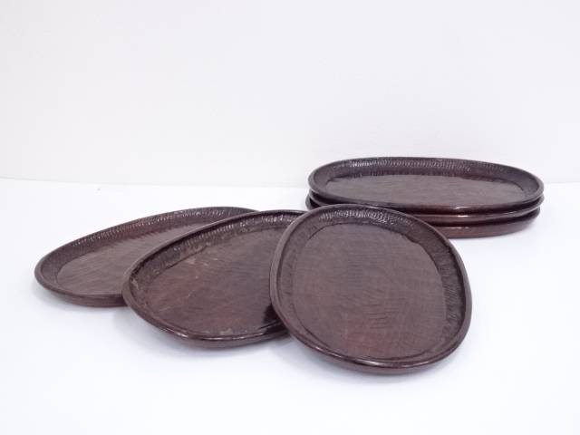 古物 刳貫楕円盆6客