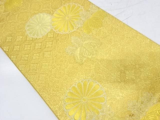 花に桐模様織出し袋帯【リサイクル】【中古】