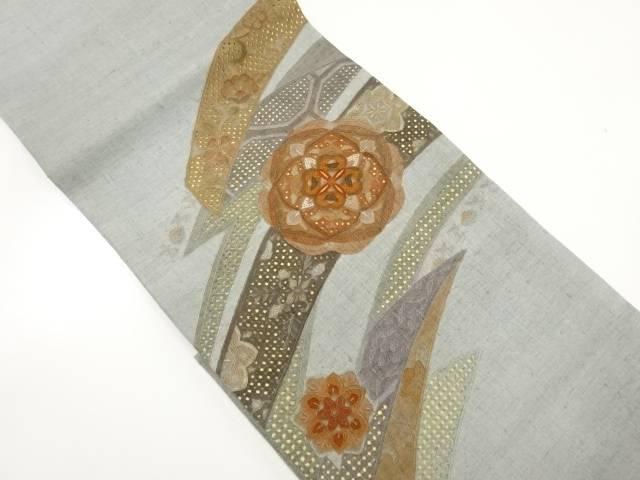 未使用品 手織り真綿紬汕頭蘇州刺繍華紋に熨斗模様袋帯【リサイクル】【中古】