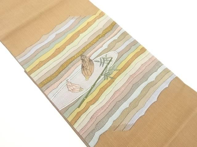 紗明綴れ笹に竹の子模様織り出し袋帯【リサイクル】【中古】(natsuk)
