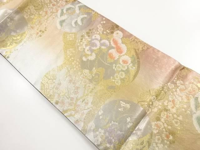 未使用品 金銀糸草花に蝶模様織り出し袋帯【リサイクル】【中古】