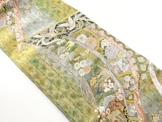 本金引箔几帳に花・鳳凰模様織り出し袋帯【リサイクル】【中古】