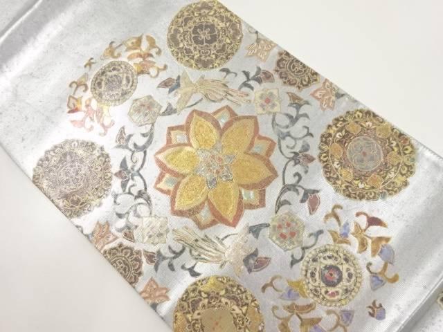 手織りプラチナ螺鈿箔華紋に尾長鳥模様織り出し袋帯【リサイクル】【中古】