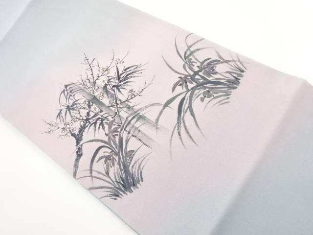縮緬地手描き竹笹に枝花模様袋帯【リサイクル】【中古】