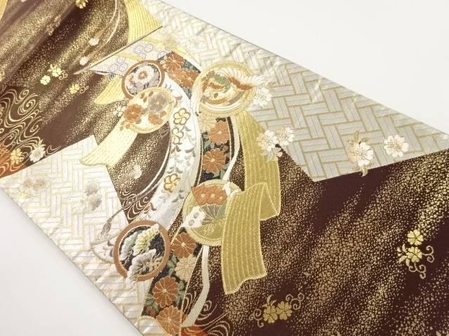 本金几帳に花鳥模様織り出し袋帯【リサイクル】【中古】