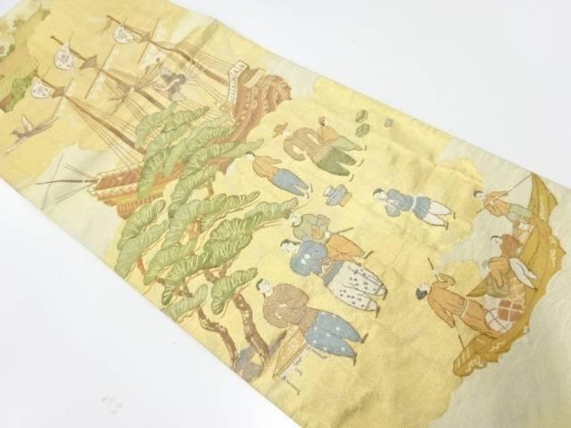 帆船に時代人物風景模様織出し袋帯【リサイクル】【中古】