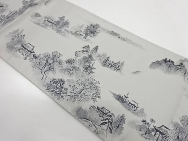 寺院風景模様織出し全通袋帯【リサイクル】【中古】